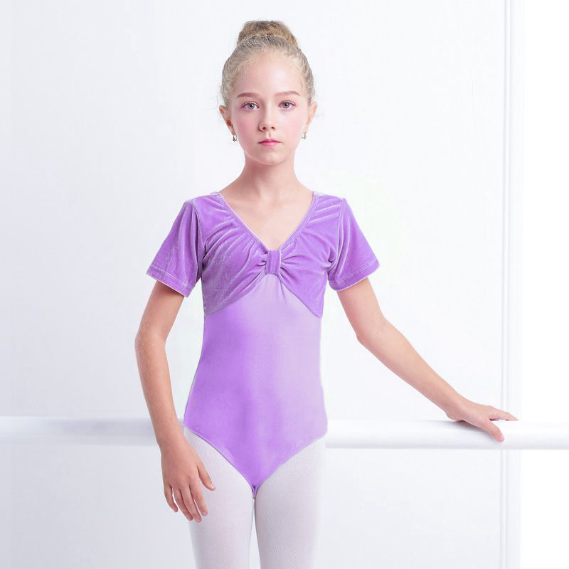Girls short sleeve velvet lycra blue pink purple dance leotard unitard costume