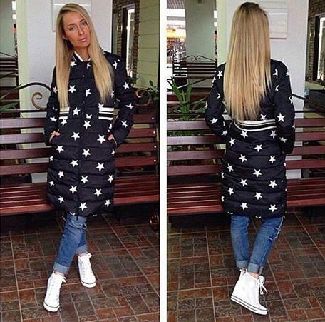 ФОТО Womens Winter Jackets And Coats Hot Sale 2016 Winter New Women 's Cotton Coat Long Section Of The Five - Pointed Star Pattern