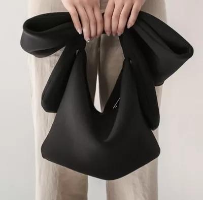 Women Space Cotton Handbag Purse Wedding Totes Clutches Cocktail Party Bowknot Korean Style Black Vintage Chic Fashion Strap BAG