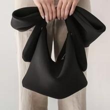 Bolso de mano de algodón para mujer, bolsos para boda, clutch, Cocktail Party, Bowknot, estilo coreano, bolso con correa elegante Vintage negro