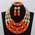 Trendy New African Wedding Orange/Chocolate Handmade Crystal Beads Jewelry Sets Necklace African Accessory Free Shipping ANJ165
