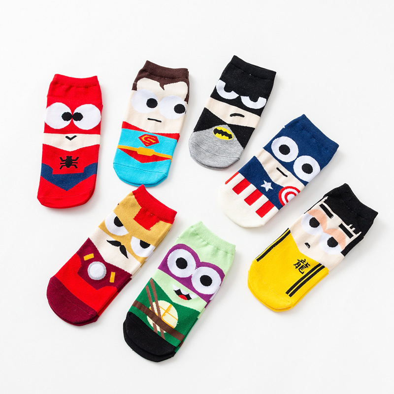 Hot Sale! Women Socks Cotton Superman SpiderMan Captain America Avenge Men Male Short Sock Colorful Breathable Cartoon Socks S-8