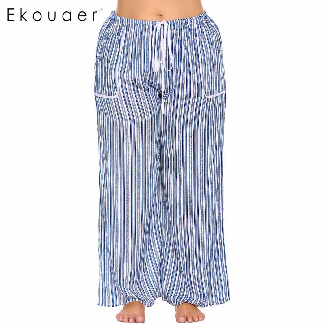 Ekouaer Sleepwear Women Drawstring Waist Striped Casual Loose Pajama Pants Plus Size 2