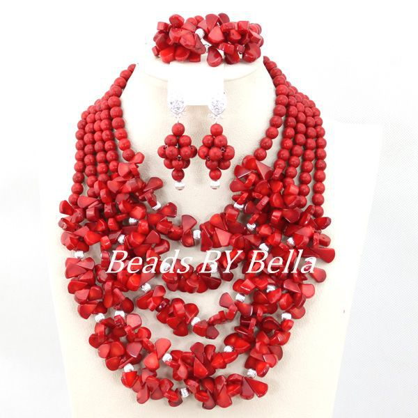 Well Made African Beads Jewelry Set Red Coral Beads Necklace Women Costume Jewelry Set Fashion Gift Set Free Shipping ABC1165 free shipping 2017 fashion red coral beads jewelry set charms red twisted strands african jewelry set high quality cnr132