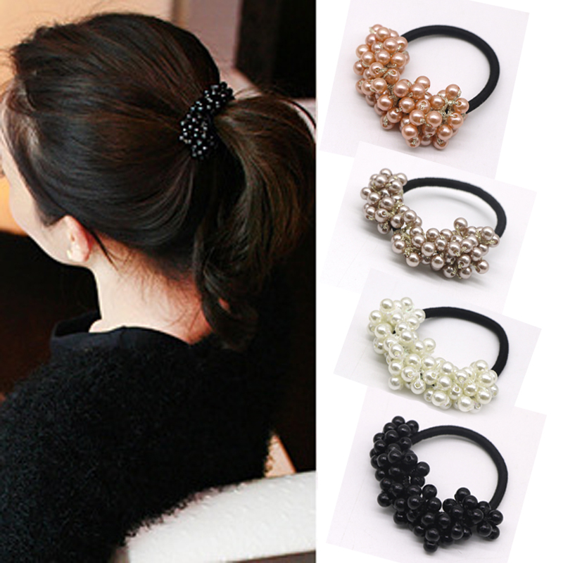 1Pcs Women Hair Band Rope Ring Scrunchie Ponytail Holder Gum for Hair Accessories Pearl Elastic Rubber Hair Bands Girls Headwear