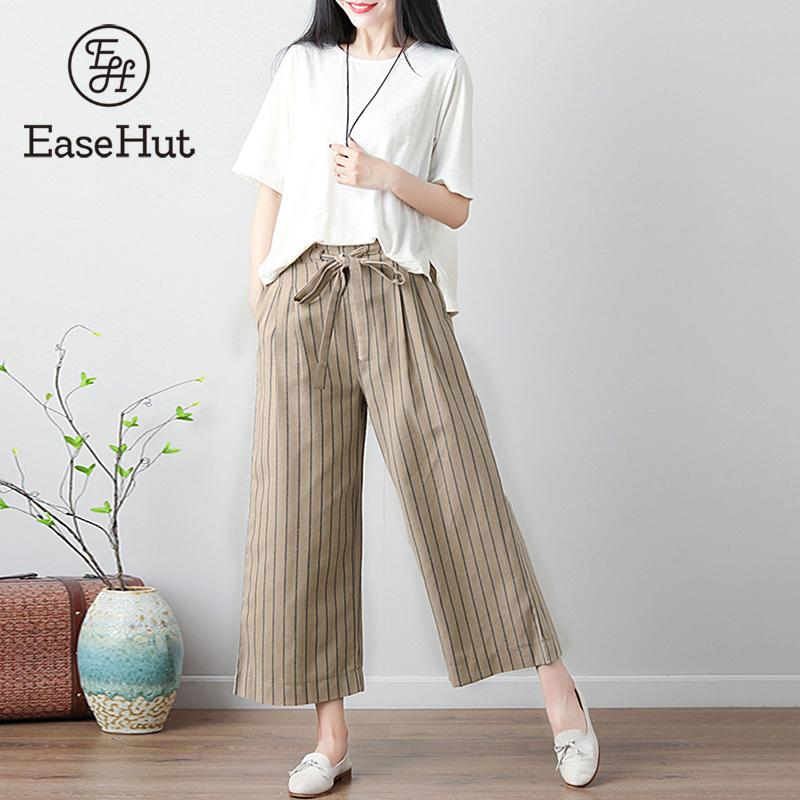 EaseHut Striped Self Tie   Wide     Leg     Pants   Women Fashion High Waist Loose Ankle-Length Cotton Linen   Pants   Casual Plus   Pants   Female