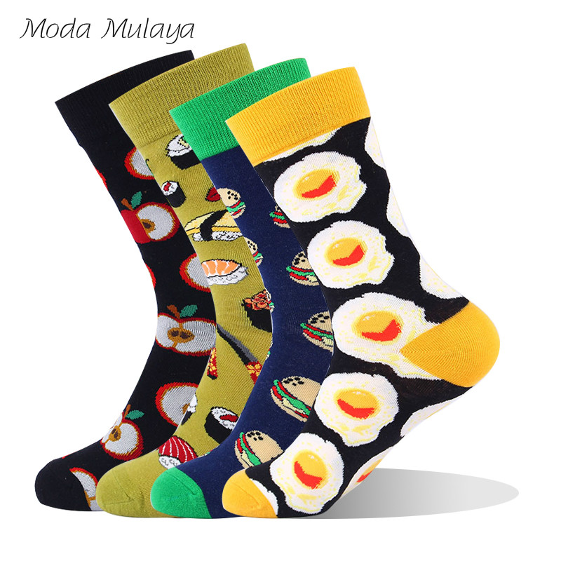 Moda Mualaya Men's Funny Socks Men Crew Food Apple Eggs Sushi Hamburger Colorful Happy Socks Calcetines Hombre Cotton Men Socks