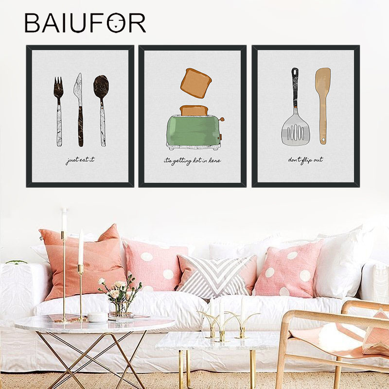 BAIUFOR Cute Cartoon Knife Fork Nordic Canvas Poster Cuadros Decoracion Wall Pictures for Living Room Kitchen Baby Room Decor