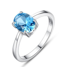 Nano Sky Blue Topaz Rings Genuine 925 Sterling Silver Engagement Finger For Women Wedding Party Gift Jewelry Drop Shipping