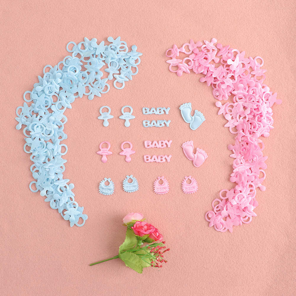 100pcs/pack Baby Shower Confetti Table Party Sprinkles Birthday Footprint, Pacifier, Baby, Bib Style Boy Girl Baby Shower Decor