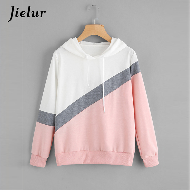 Jielur 2019 Autumn Chic New Spell Color Patchwork Hoodies for Women Pullover Loose Casual Hooded Female Sweatshirt Streetwear