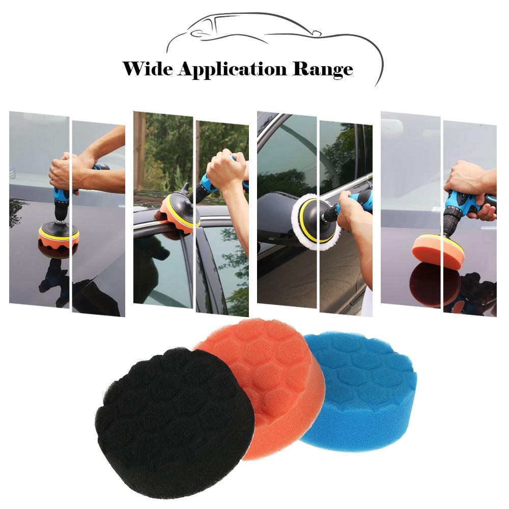3PCS 3/5/6/7 Inch Car Polishing Sponge Pads Waxing Buffing