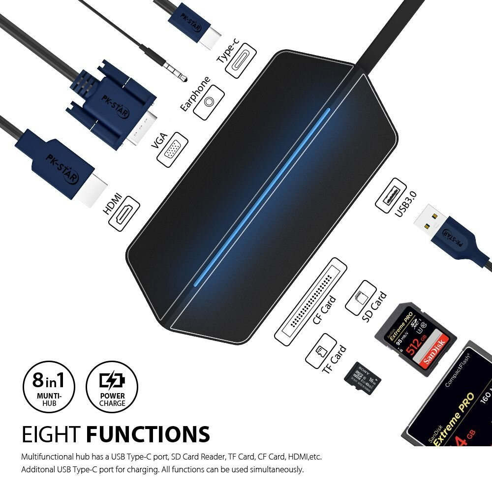 USB Type C To HDMI VGA Adapter Thunderbolt 3 Dock Dongle USB C Hub Combo Micro SD Card With 3.5MM Aduio Socket For MacBook Pro theodorus cornelis van stockum spinoza jacobi lessing ein beitrag zur geschichte der deutschen literatur und philosophie im 18 jahrhundert