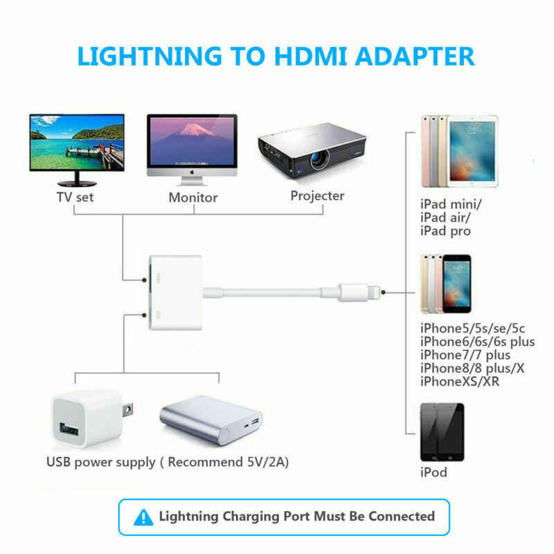 8 Pin Digital AV Adapter for Lightning to HDMI Cable for Apple iPhoneX 8 7 iPad HDMI Adapter Cable Audio Video Adapter
