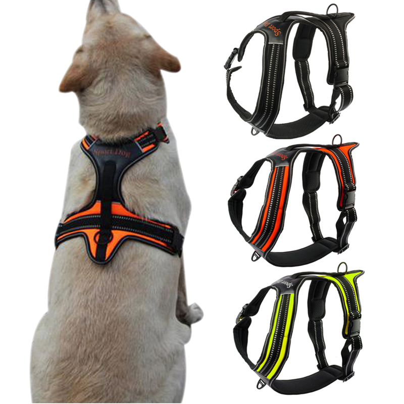 Nylon Front Range No Pull Dog Harness Reflective Outdoor Adventure Pet Vest With Handle For Medium