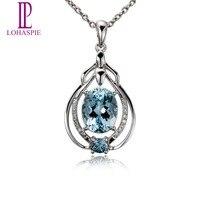Натуральный драгоценный камень Аквамарин золотой кулон с алмазом Твердый 18 К белый 750 Тонкий Модный камень ювелирные изделия для женщин под