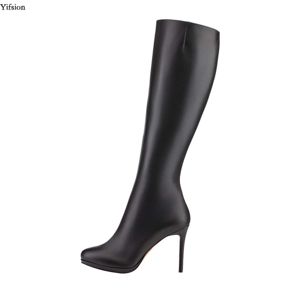 Yifsion New Women Platform Knee High Boots Sexy Thin High Heel Nice Round Toe Ladies Party Long Boots Women Plus US Size 4-15 yifsion women ladies platform over the knee boots sexy thin high heels boots fashion round toe wine red shoes women us size 4 15