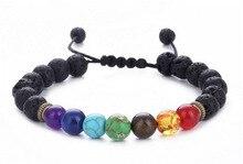 Buddha Bless 7 Chakra Bracelet Black Lava Healing Balance Beads Reiki Buddha Prayer Natural Stone Bracelet For Women