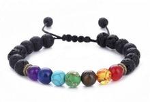 Buddha Segne 7 Chakra Armband Schwarz Lava Healing Balance Perlen Reiki Buddha Gebet Natürliche Stein Armband Für Frauen