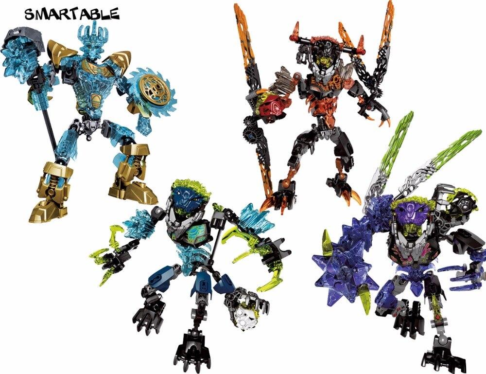 BIONICLE series 4 pcs/set Ekimu Umarak Storm Qurke action figures 613 Building Block toys Compatible legoing BIONICLE lego bionicle 71309 онуа объединитель земли