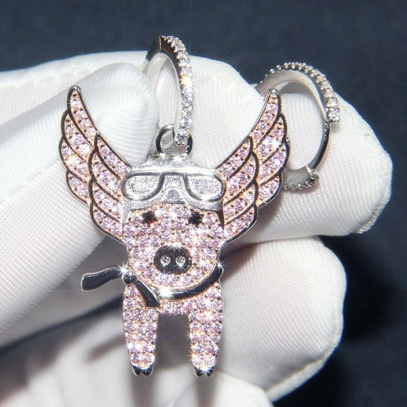 SLJELY New 925 Sterling Silver Asymmetric Pink Flying Piggy  Earrings Pave Zircon CZ Pig Earrings Women Fine Laviateur JewelryDrop  Earrings