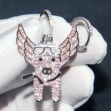 SLJELY New 925 Sterling Silver Asymmetric Pink Flying Piggy Earrings Pave Zircon CZ Pig Earrings Women Fine Laviateur Jewelry