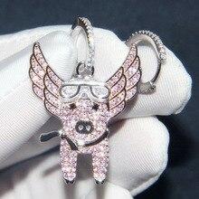 SLJELY nowy 925 srebro asymetryczne różowe latające świnka kolczyki Pave cyrkon CZ świnia kolczyki kobiety grzywny Laviateur biżuteria