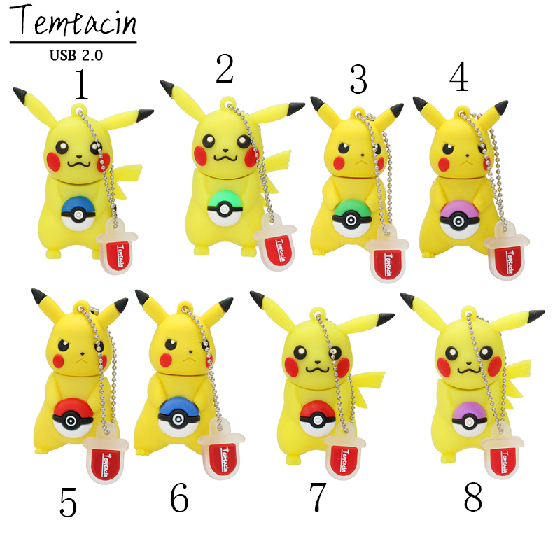 USB Flash Drive Cartoon Söt Pokemon Pikachu Shape USB Flash Drive PenDrive Memory Stick Penn Drive 4GB-128GB USB Drive