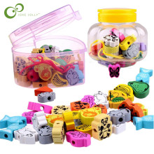 26pcs/lot wooden toys Cartoon Animals Fruit beads Stringing Threading Beads Game Education Toy for Baby Kids Children WYQ(China)