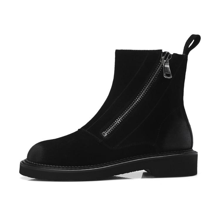 Invierno Mujer Tacón Gran Juguete Cuero Nuevas Para Negro Tamaño 2019 De Las E Tobillo Botas Mujeres Zapatos Peluche Otoño Gamuza {zorssar} marrón Plano 7TqO48H