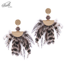 Badu Women Vintage Feather Earrings for Gold Alloy Dangle Drop Earring Big Statement Jewelry Halloween Winter