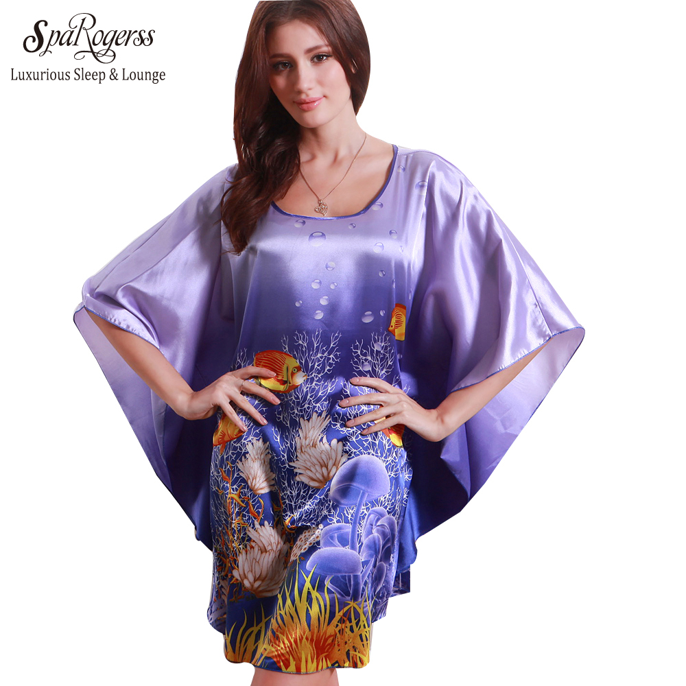 SpaRogerss Plus Size Silk   Nightgowns     Sleepshirts   2018 Lady Sleepwear Dressing Gown Female Home Brand Bathrobe LoungeRU7348