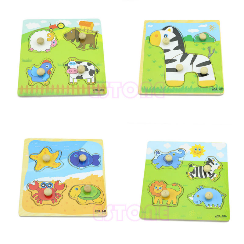 Adjustable Colorful 4 Shape Baby Kids Educational Brick Wooden Animal Puzzle Toy O26 in Model Building Kits from Toys Hobbies