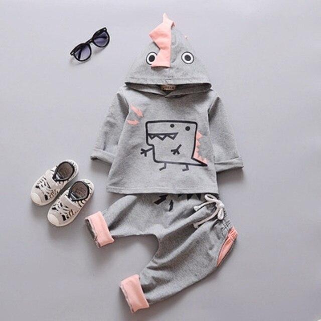 2 шт. осенние Дети мультфильм хлопок динозавр мальчиков толстовка осень свитер брюки толстовки для мальчиков
