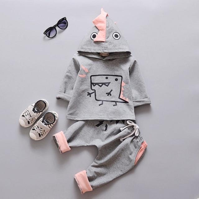 2 unidades de otoño Niños de algodón de dibujos animados bebé dinosaurio niños sudadera otoño pantalones suéter sudaderas con capucha para niños