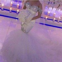 Romantic Sweetheart Trouwjurk Beaded Satin Mermaid White Wedding Dress With Veils Crystal Tulle Skirt Bridal Wedding