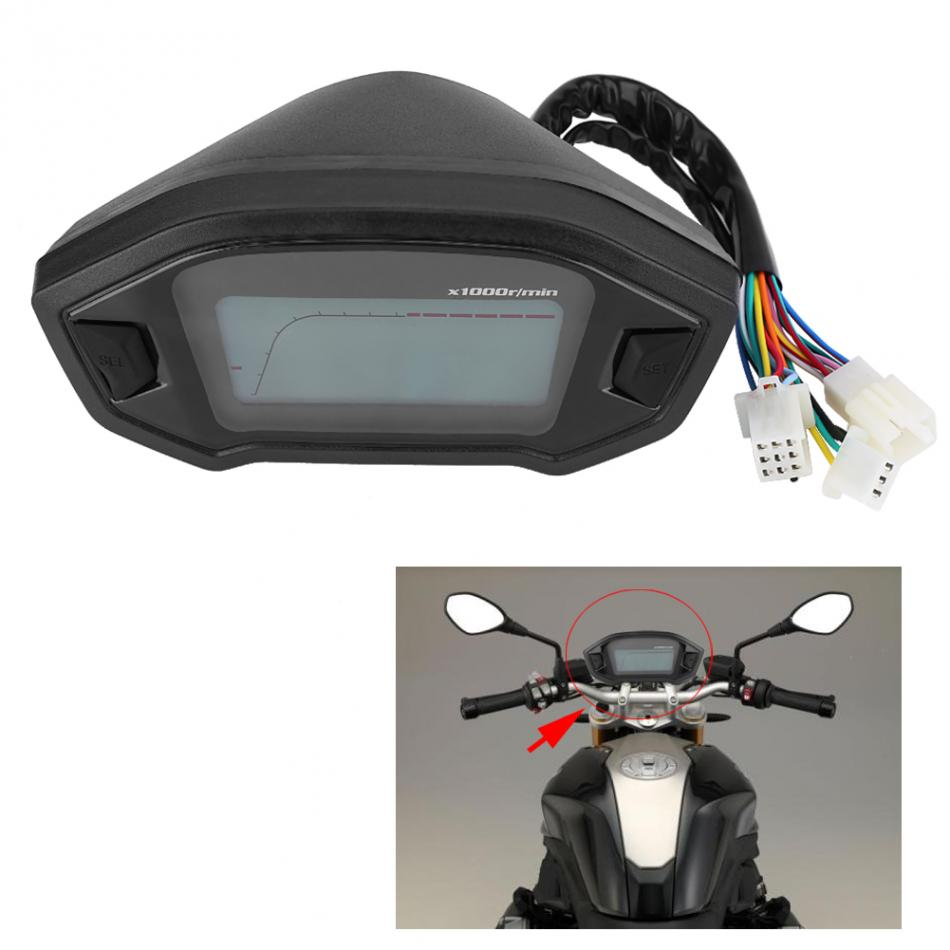 Motorcycle 13000RPM Speedometer Digital Colorful LCD Speedometer Odometer Tachometer W/ Speed Sensor Motor Instrument Gauge