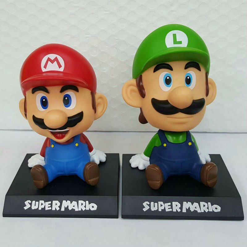 5' 14cm Super Mario Luigi Collection Model PVC Action Figures Toy Bobble Head Car Ornament Cartoon Kids Toy Action Figure Model