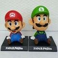 5' 14cm Super Mario Luigi Collection Model PVC Action Figures Toy Bobble Head Car Ornament Cartoon Kids Toy Action Figure Model
