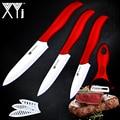 Cuchillo de cocina de cerámica XYj 3 pulgadas Paring 4 pulgadas utilidad 5 pulgadas cuchillo de rebanado blanco + cocina pelador rojo cuchillos herramientas