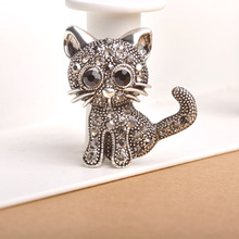 Cute Little Black Eyed Silver Cat Brooch With Grey Rhinestones