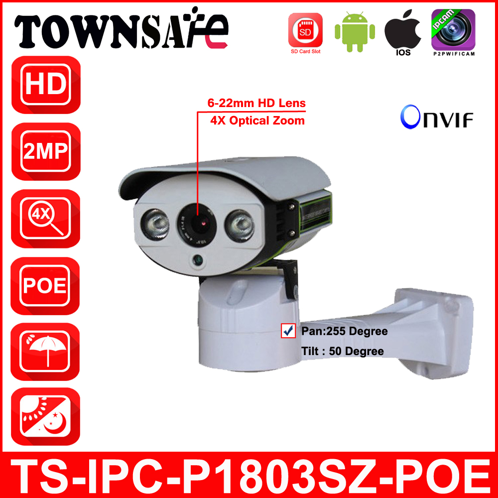 TOWNSAFE TS-IPC-P1803SZ-POE Bullet IP Camera Full HD 1080P PTZ  Outdoor Pan/Tilt 6-22mm 4X Optical Zoom with POE SD Card Slot suneyes sp p1803sz poe ptz ip camera 1080p full hd outdoor pan tilt zoom 6 22mm optical zoom with micro sd slot ir night