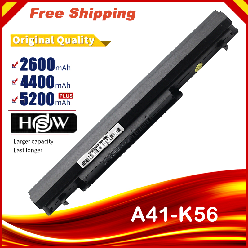 HSW 8 Cells Laptop Battery For Asus K56C A46C S550C S46 S46C K56V K56CA/CB/CM S56C E46C K46C A31/A32/A42/A41-K56fast Shipping