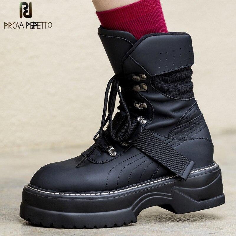 Prova Perfetto Fashion Black Chunky Hakken Laarzen Lente Herfst Lace up Platform Schoenen Vrouw Enkellaarsjes Handgemaakte Hoge Hakken laarzen-in Enkellaars van Schoenen op  Groep 1