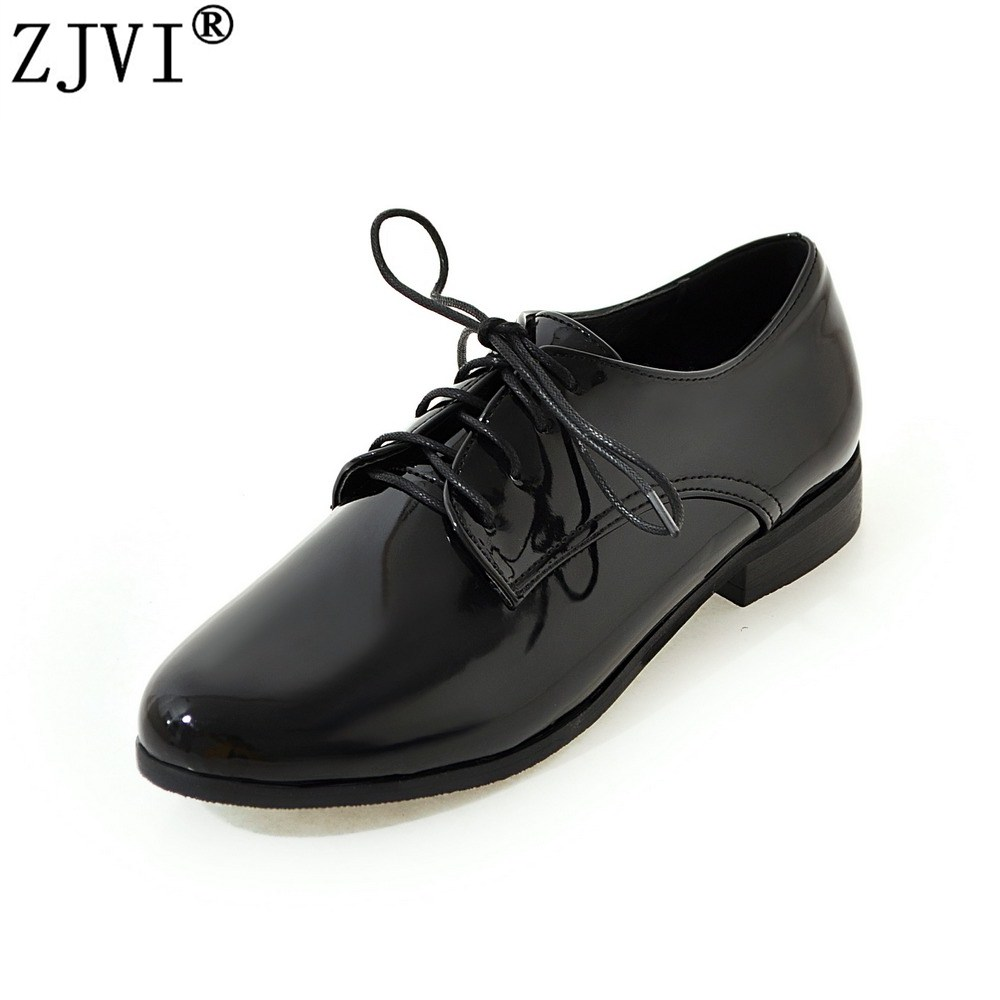 ZJVI woman patent round toe flats 2018 women spring autumn flat shoes ladies women's female lace up casual shoes plus size 4-14 padegao brand spring women pu platform shoes woman brogue patent leather flats lace up footwear female casual shoes for women