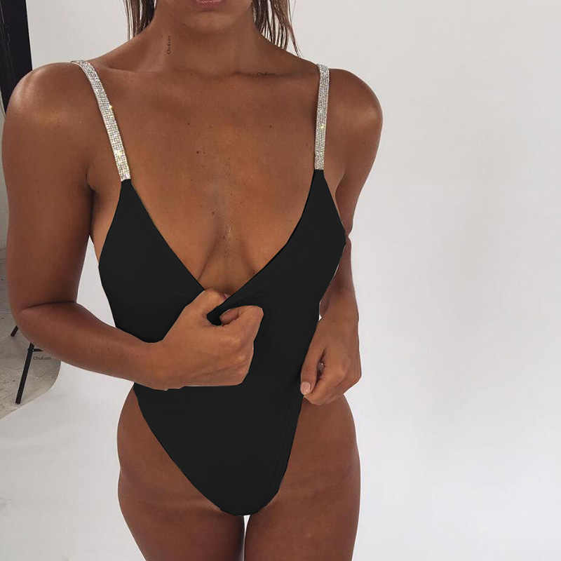 Sexy Women Backless Bathing Suit 2018 Solid Color Sequin One Piece Swimsuit Monokini Push Up Halter Swimwear Strap Biquini