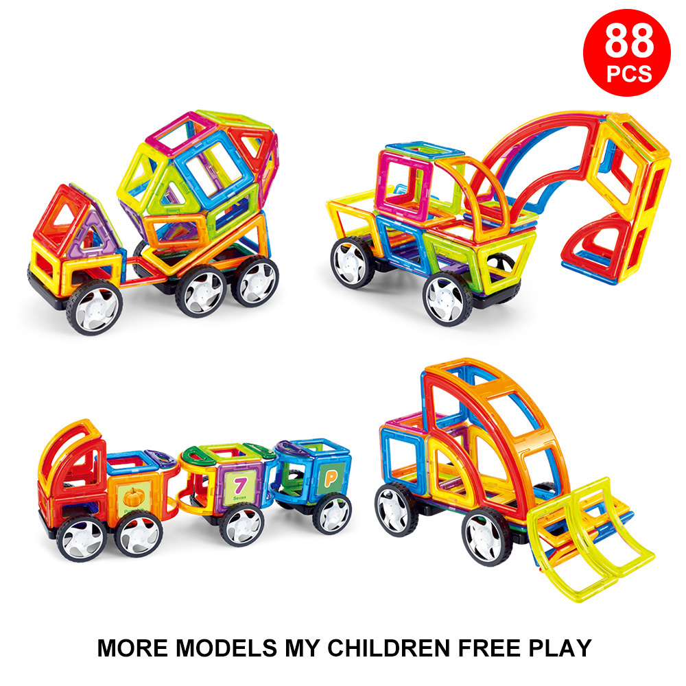 88PCS Standard Size Magnetic construction Blocks 3D Model Building Bricks Children Educational Toys Engineering vehicle
