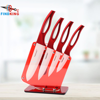 FINDKING Beauty Gifts Zirconia red handle Ceramic Knife with holder kitchen Set 3 4 5 6 inch+ Peeler+Holder kitchen knife
