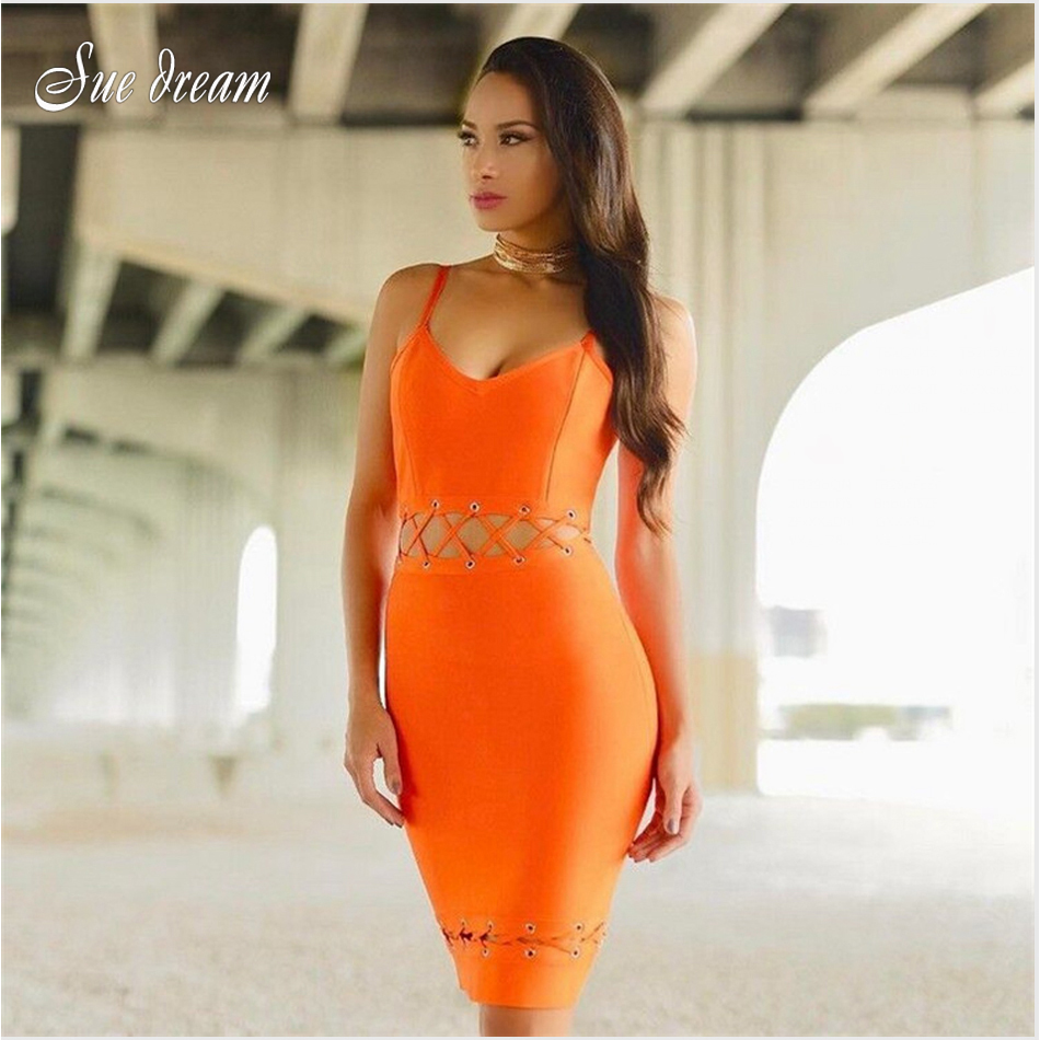 2017 Summer new women sleeveless v neck bandage dress hollow out sexy bodycon celebrity party yellow navy orange dresses vestido