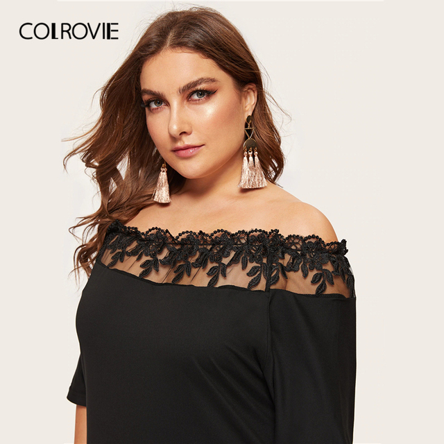 COLROVIE Plus Size Black Off The Shoulder Contrast Mesh Elegant Dress Women 2019 Summer Short Sleeve Knee Length Party Dresses 3